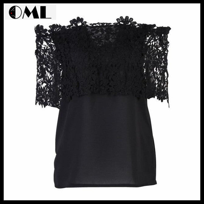 Fashion & Casual Lace Crochet Off Shoulder Chiffon Shirt