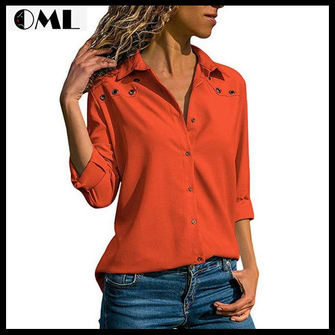 Elegant Women Turn Down Collar Chiffon Office Blouse Shirts