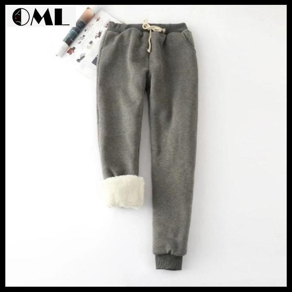 Women Warm Thick Lambskin Cashmere Pants Loose Trousers