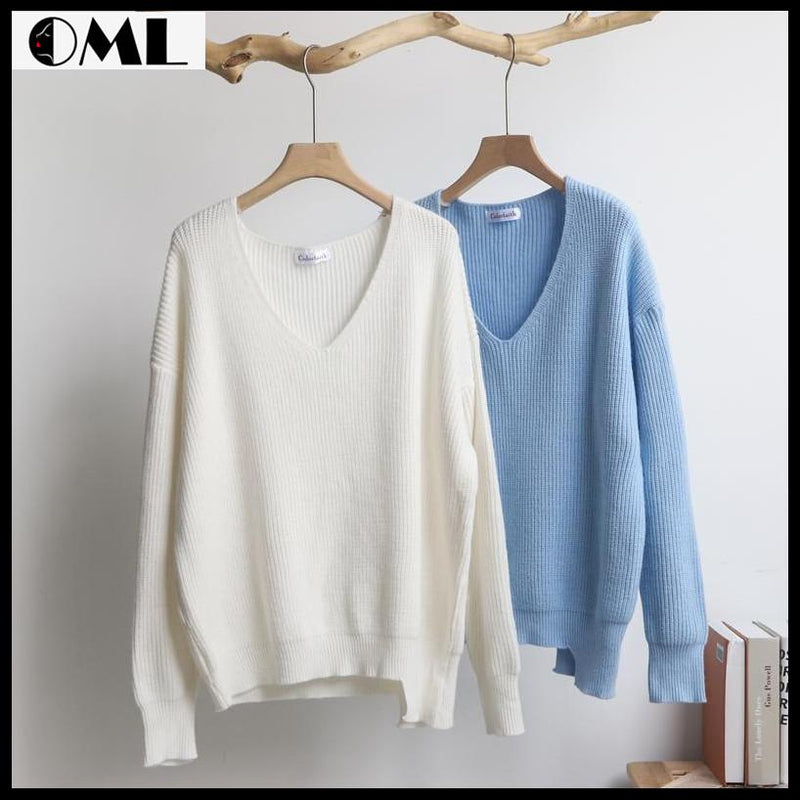 Autumn Winter Women's Sweaters V-Neck Minimalist Tops - oh!My Lady