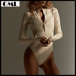 Sexy Long Sleeve Skinny Buttons Romper V-Neck Knitted Bodysuit