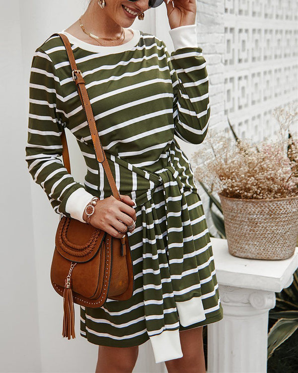 In The Moon Knit Striped Dress - ArmyGreen oh!My Lady