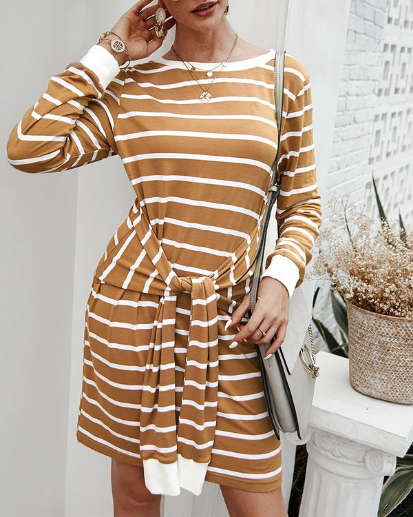 In The Moon Knit Striped Dress - Yellow oh!My Lady