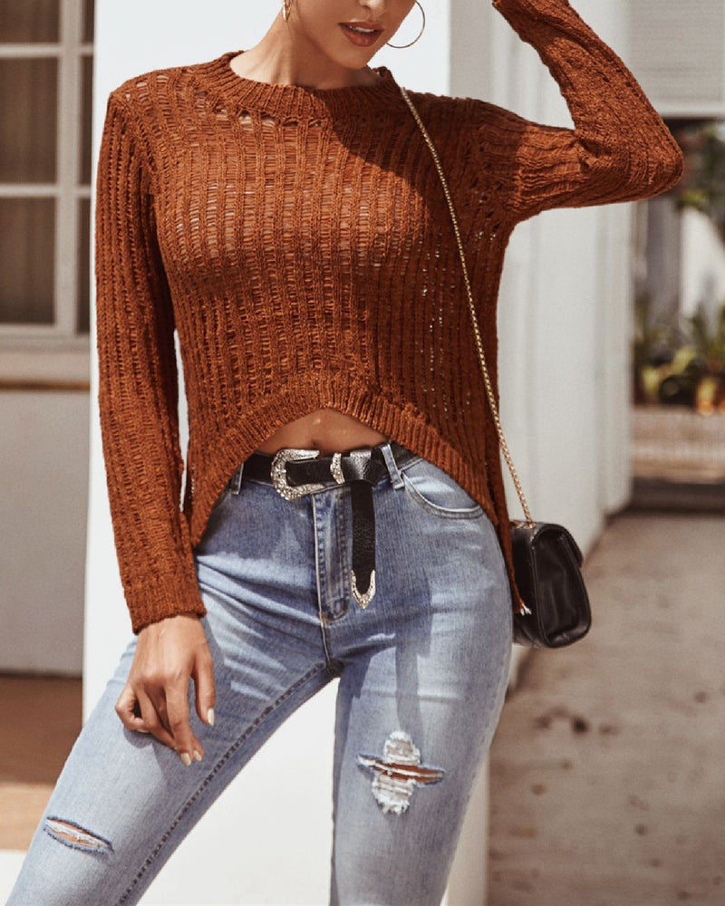 Irregular Hollow High Stretch Sweater - Brown oh!My Lady
