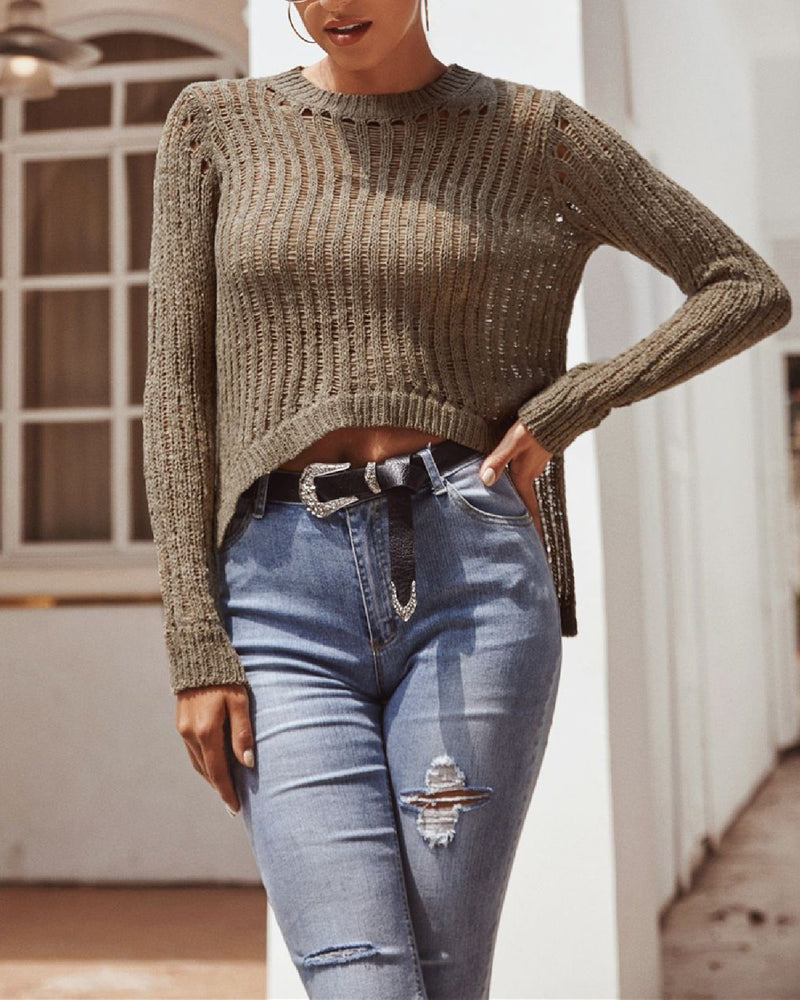 Irregular Hollow High Stretch Sweater - Green oh!My Lady
