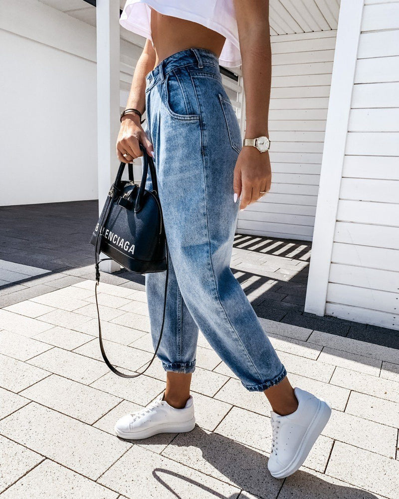 Kick Back Wash High-Waisted Distressed Jeans pants oh!My Lady