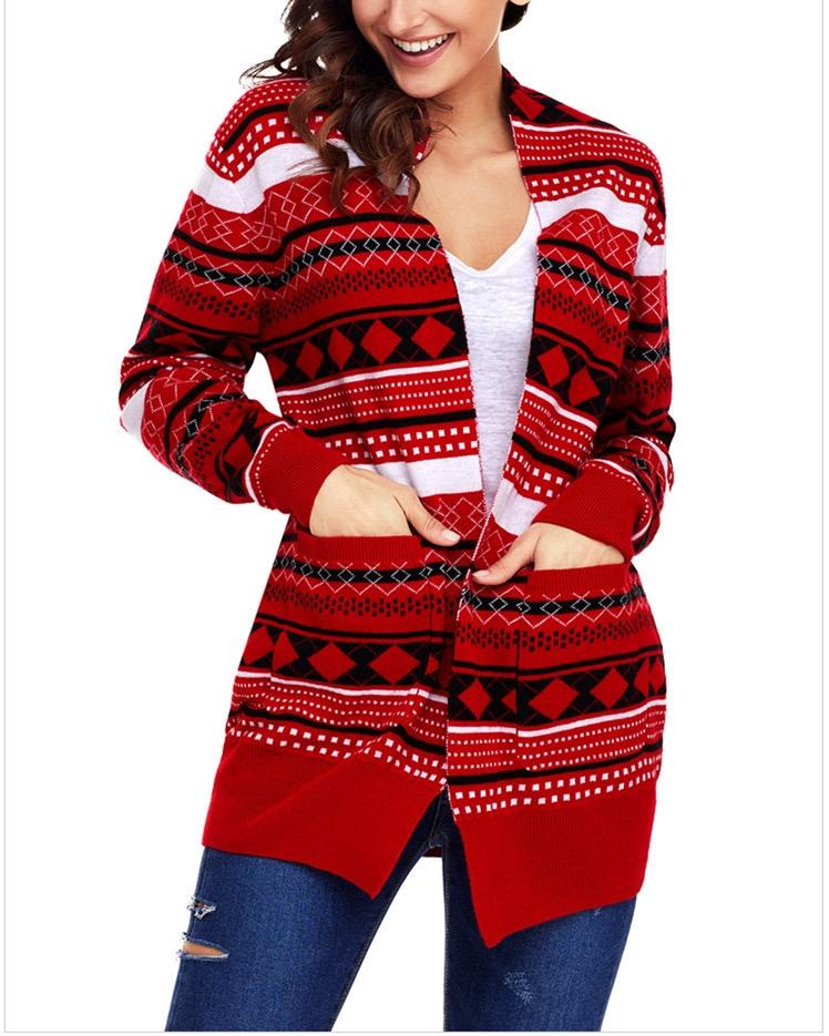 Knitted Loose Christmas Sweater - Red oh!My Lady