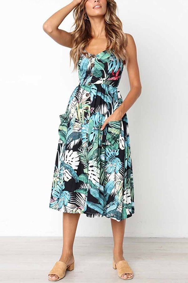 Leaf Print Sexy Camisole Dress ( 2 colors) ohmylady/Dresses OML S Green