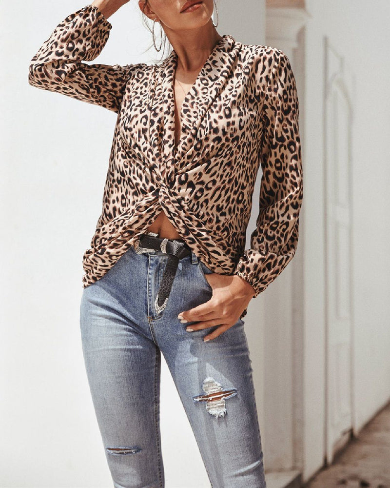 Leopard Print Long Sleeve Short Shirt oh!My Lady