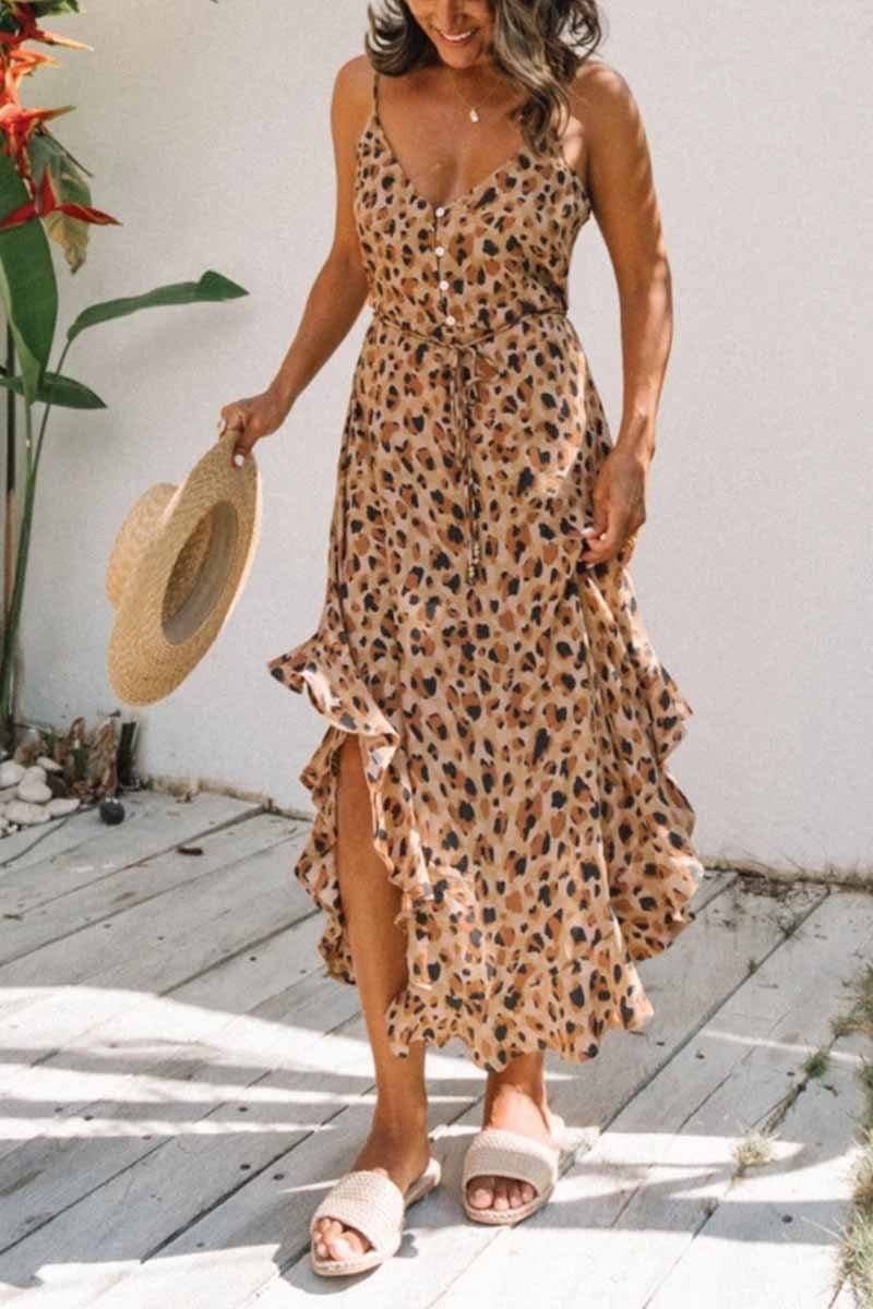 Leopard-Print Ruffled Midi Dress ohmylady/Dresses OML S Brown