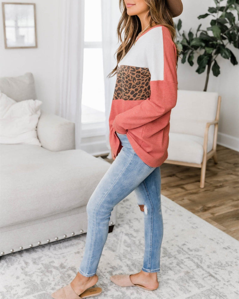 Listen To Your Soul Animal Print Blouse - Coral Sweaters oh!My Lady