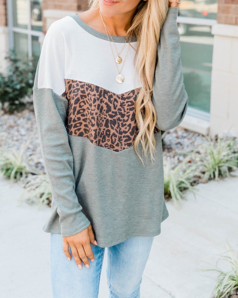 Listen To Your Soul Animal Print Blouse - Olive Sweaters oh!My Lady