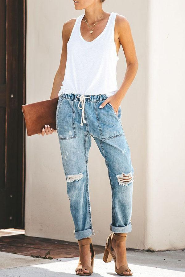 Loose Drawstring Blue Jeans Florcoo/Pants OML