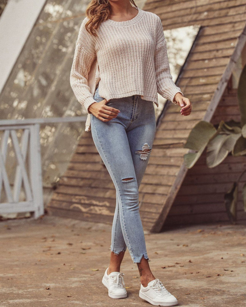 Love Me Madly Cream Knit Sweater oh!My Lady
