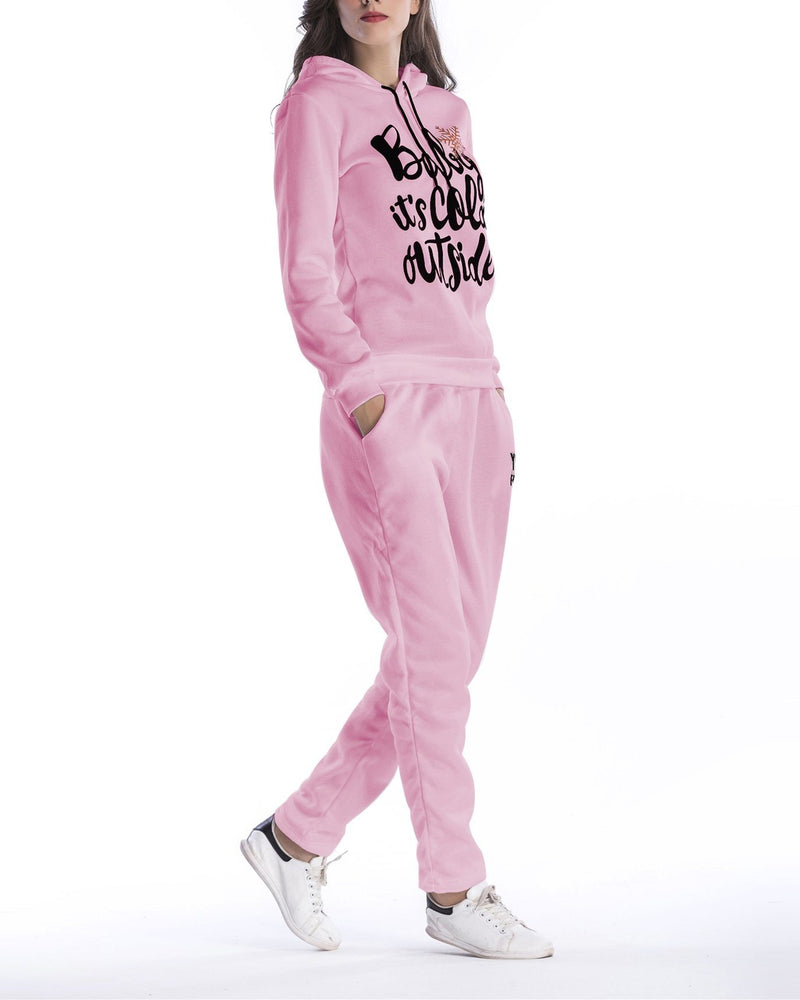 Merry Christmas Print Hooded Suit - Pink oh!My Lady