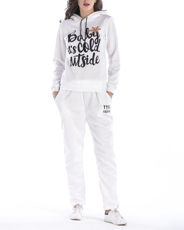 Merry Christmas Print Hooded Suit - White oh!My Lady