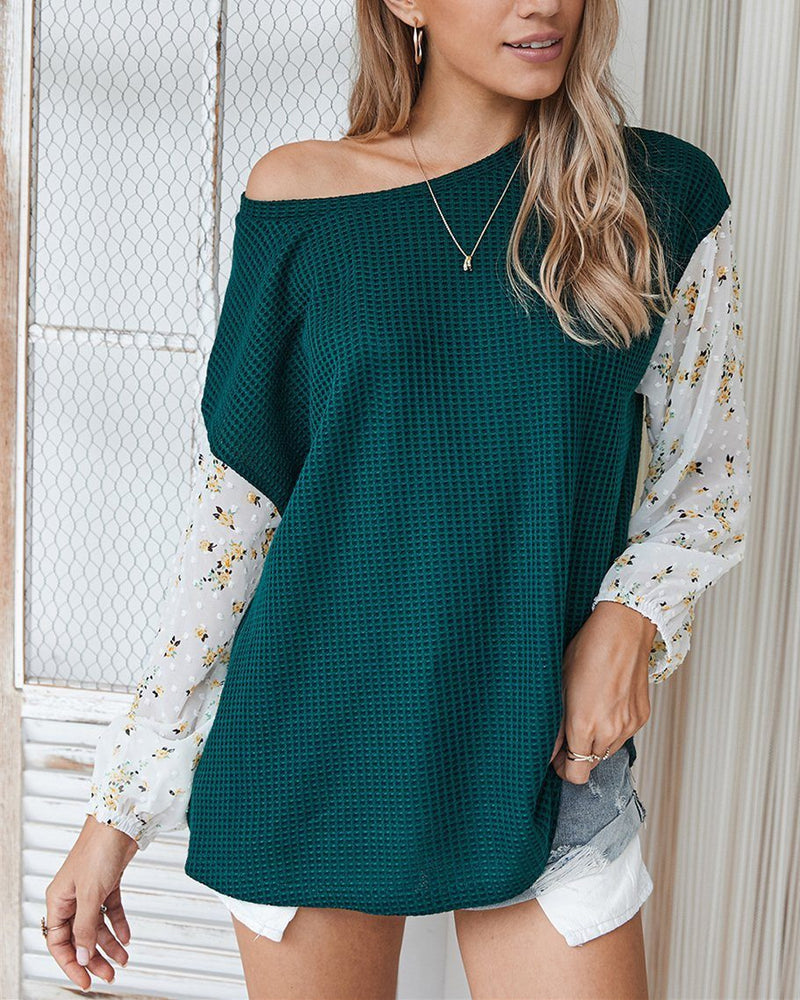 Nancie Rusty Floral Colorblock Knitted T-shirt - Blackish Green ShellyBeauty
