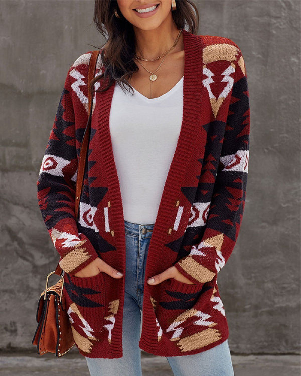 Next Level Cozy Knit Cartigan - Red oh!My Lady