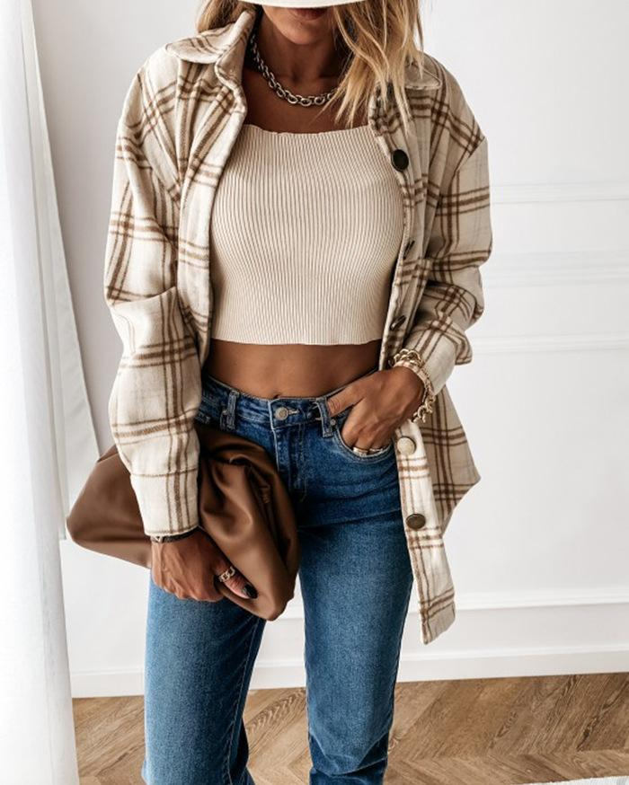 Ode to Cozy Plaid Lightweight Jacket - Beige oh!My Lady