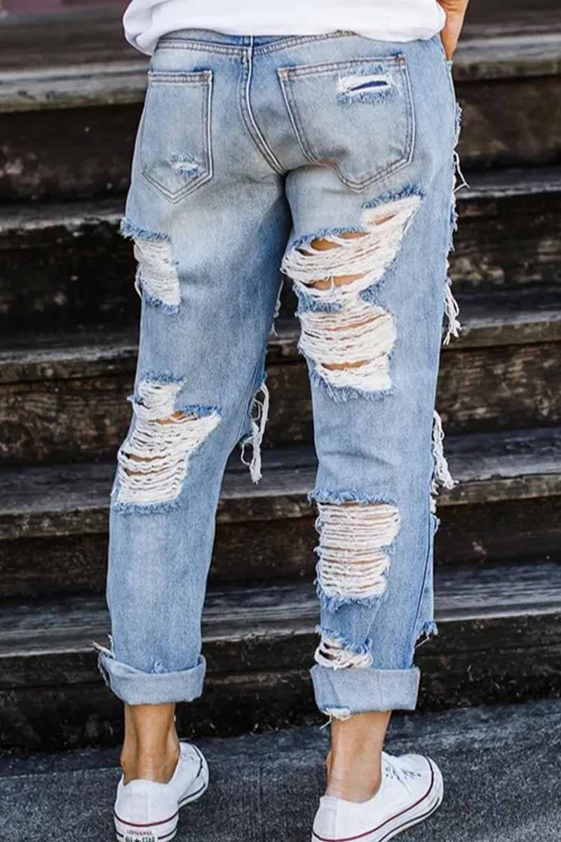On-trend Ripped Straight Jeans Florcoo/Pants OML