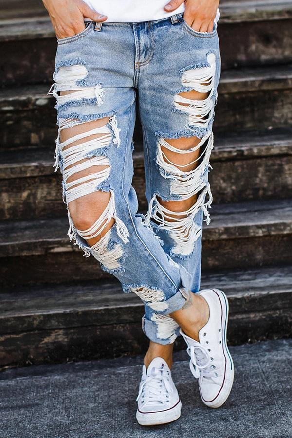 On-trend Ripped Straight Jeans Florcoo/Pants OML Blue S