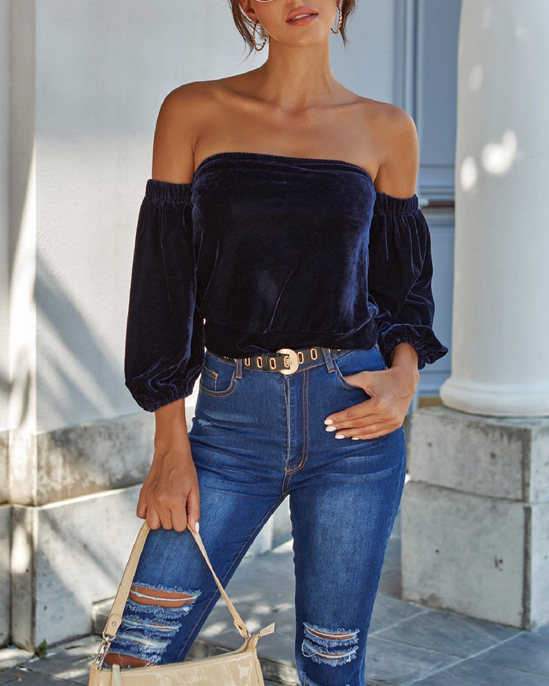 One-Shoulder Velvet Top oh!My Lady