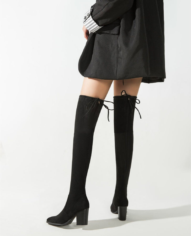 Over the Knee Boots Suede Chelsea Boots - Black oh!My Lady