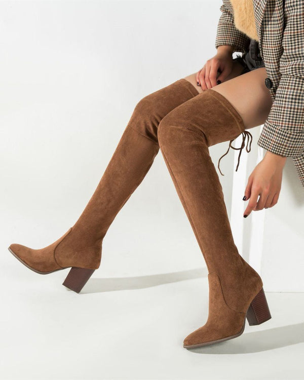 Over the Knee Boots Suede Chelsea Boots - Brown oh!My Lady