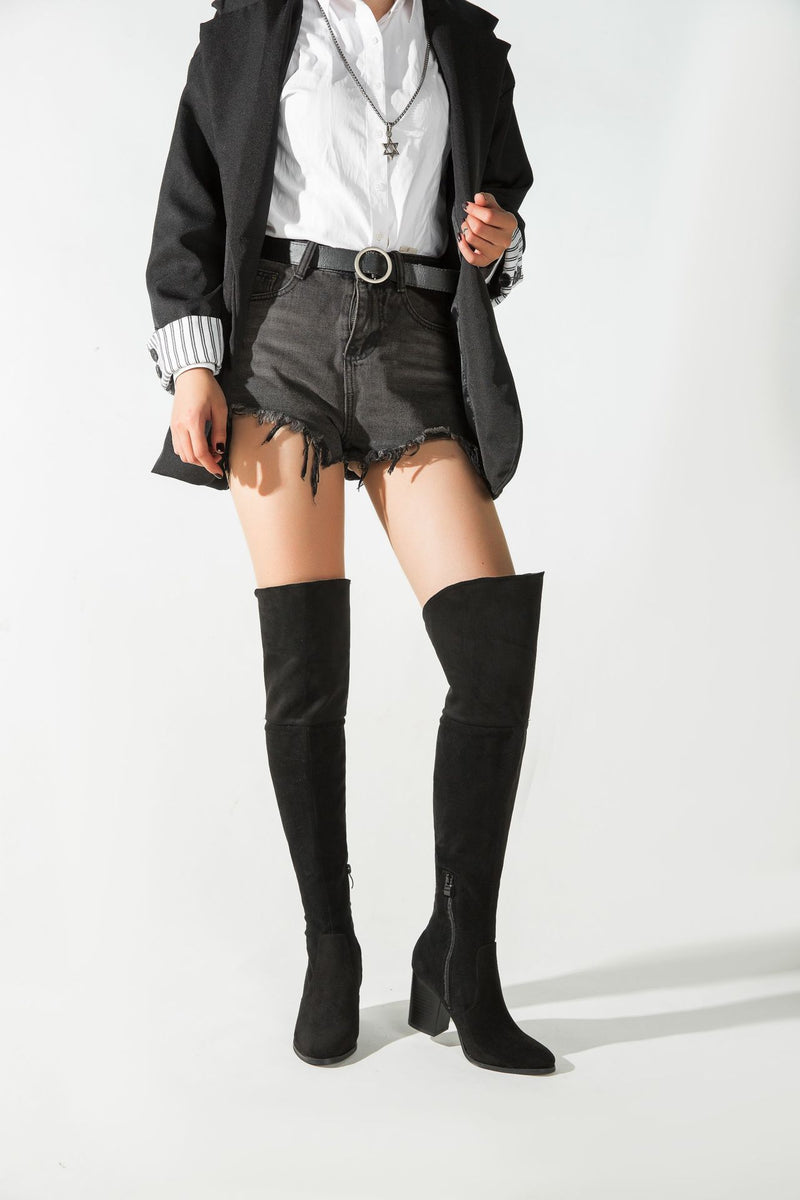 Over the Knee Riding Boots - Black High Boots oh!My Lady