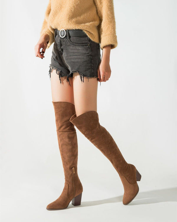 Over the Knee Riding Boots - Brown High Boots oh!My Lady