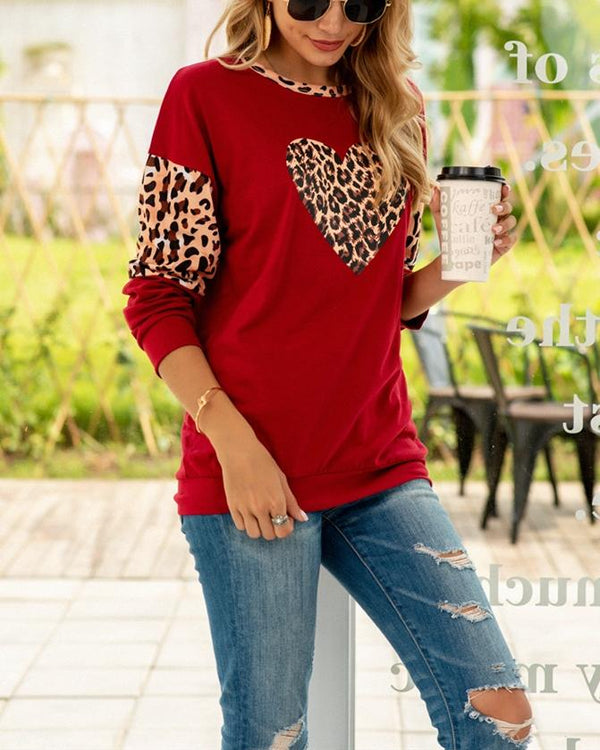 Patchwork Leopard Print Pullover Loose Top oh!My Lady