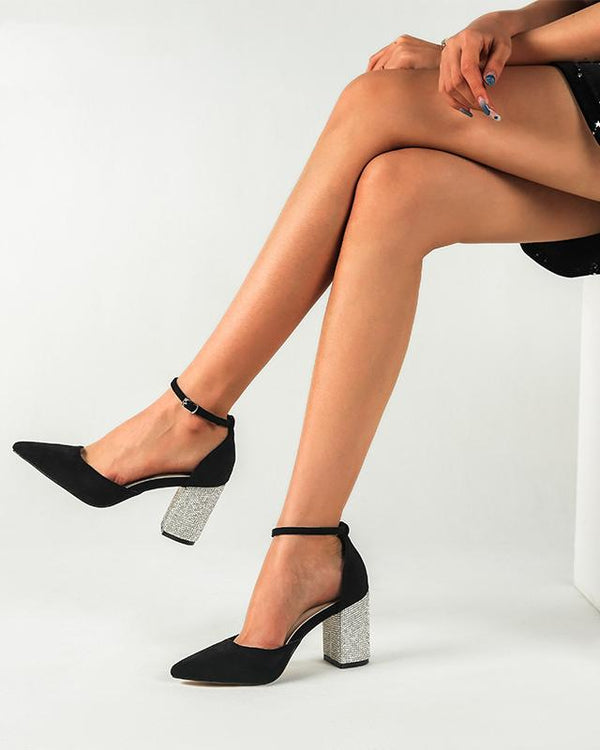 Pointed Toe Ankle Strap Heel Sandals - Black oh!My Lady