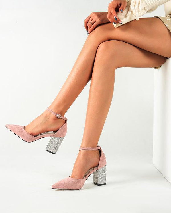 Pointed Toe Ankle Strap Heel Sandals - Pink oh!My Lady