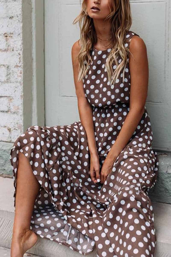 Polka Dot Round Neck Dress (5 colors) ohmylady/Dresses OML S(2-4) Brown