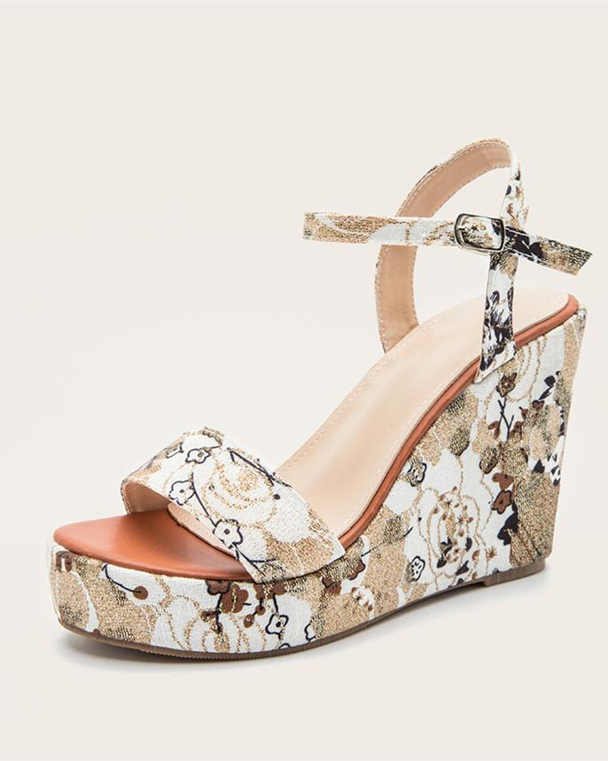 Printed Wedge Sandals - White Sandals oh!My Lady