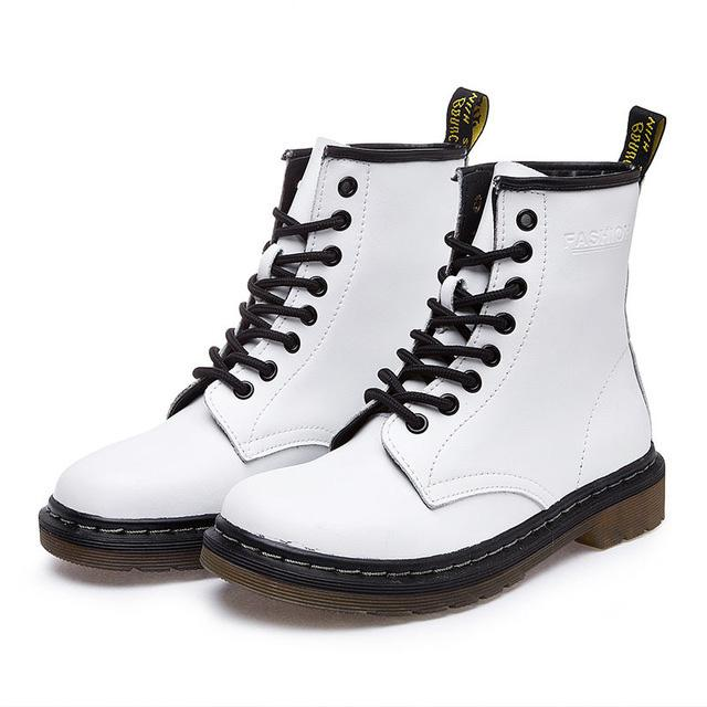 Genuine Leather Women white ankle Boots Motorcycle Boots