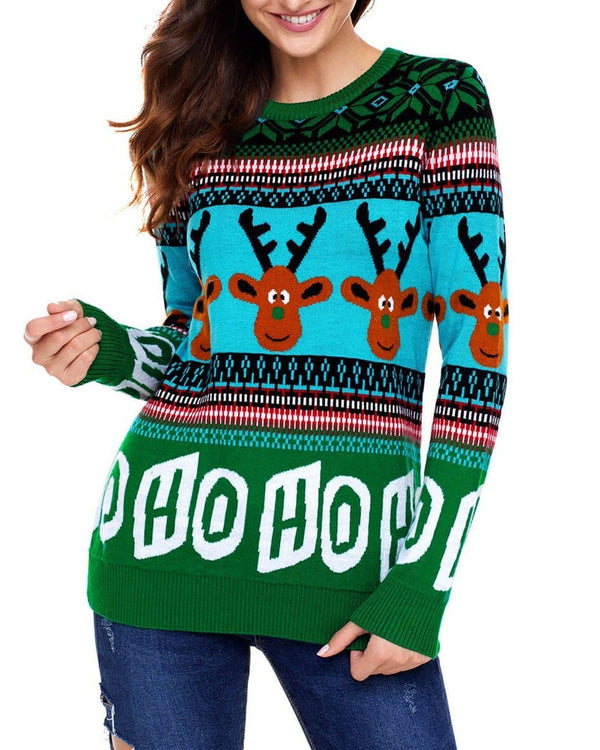 Pullover Round Neck Christmas Sweater - Green oh!My Lady