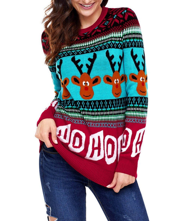 Pullover Round Neck Christmas Sweater - Red oh!My Lady