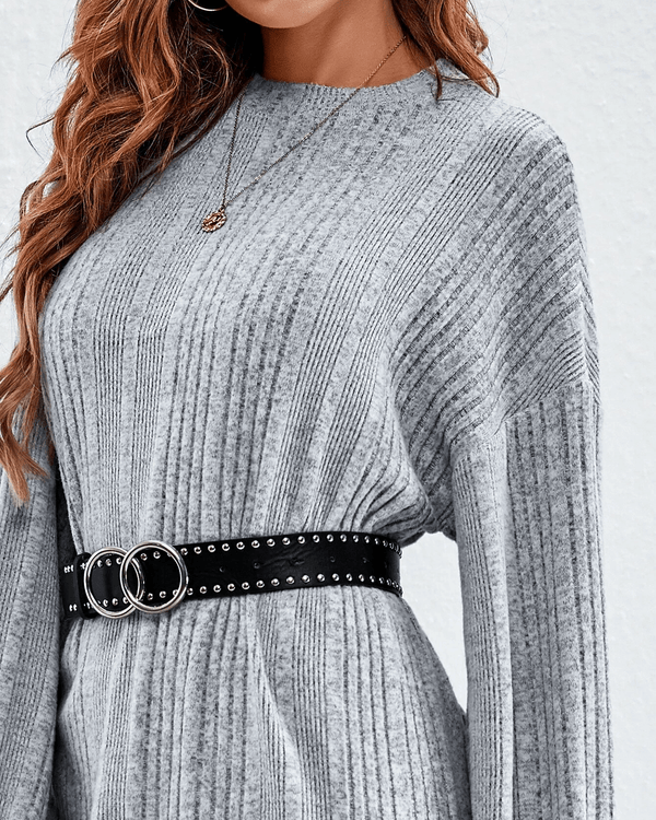 Rainy Day Knit Dress - Heather Grey oh!My Lady