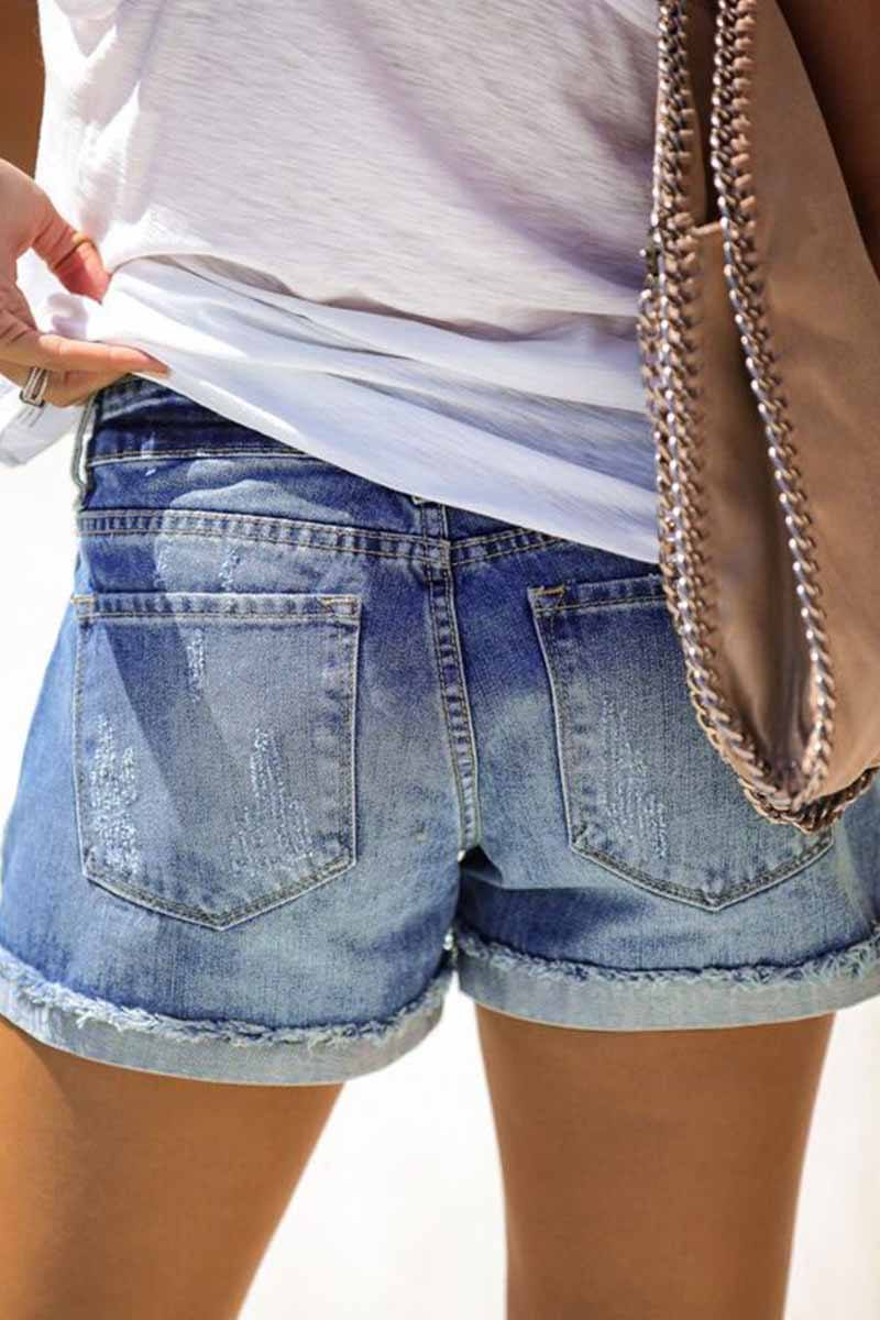 Regular Waist Solid Color Regular Fit Hole Casual Jeans Florcoo/Shorts OML