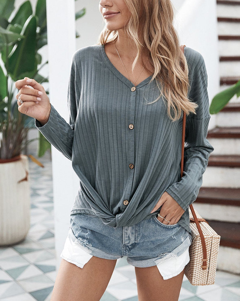 Relax and Chill Ribbed Knit Long Sleeve Sweater - Grey ShellyBeauty