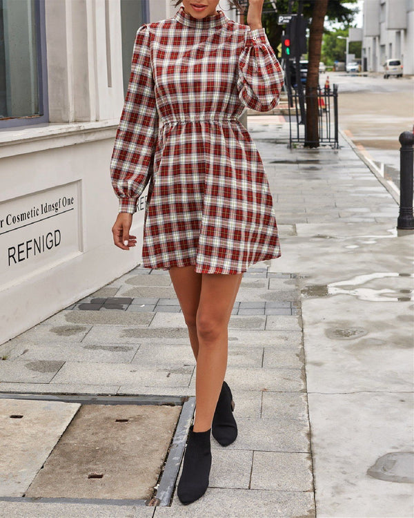 Retro Half High Collar Plaid Dress oh!My Lady