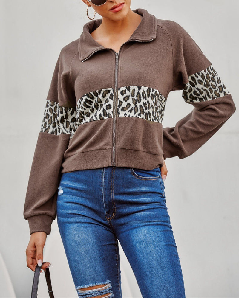 Retro Leopard Stitching Zip Jacket oh!My Lady
