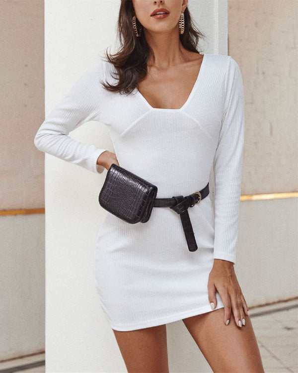 Ribbed Long Sleeve Sexy Dress oh!My Lady