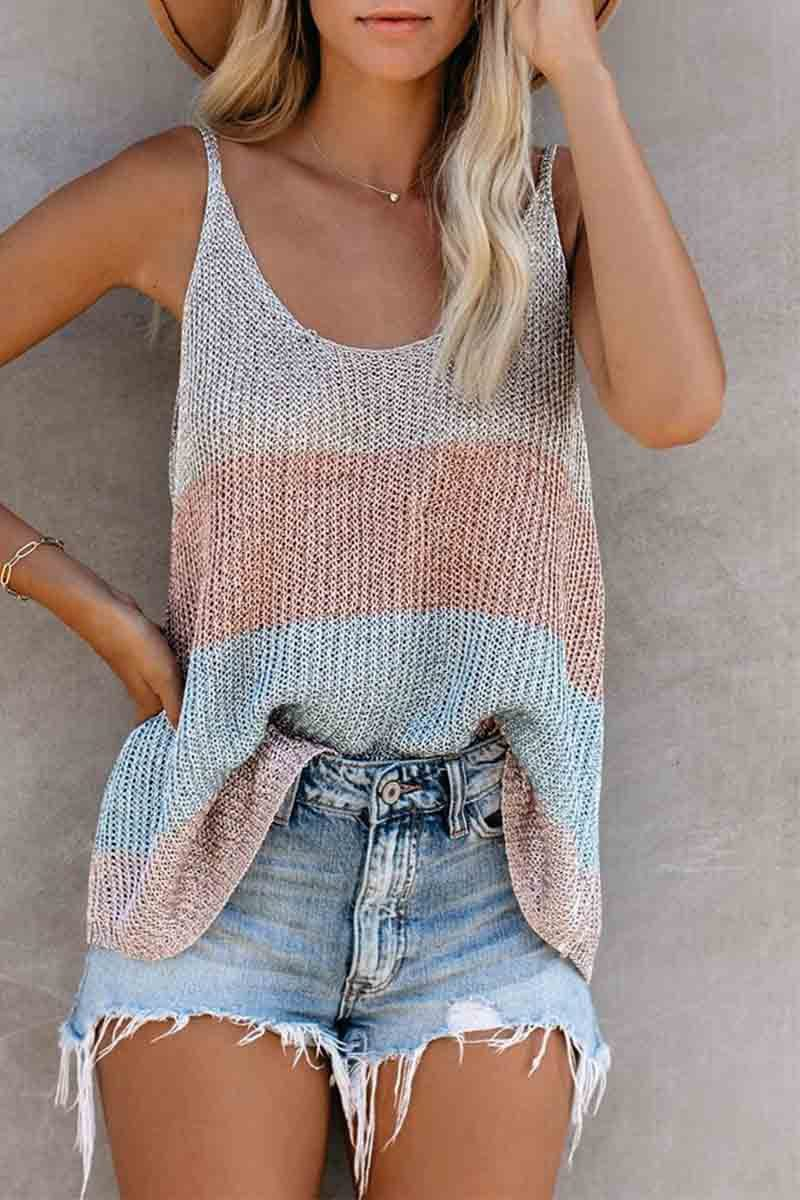 Round Neck Knitted Vest Top ohmylady/Tops - x OML S Pink
