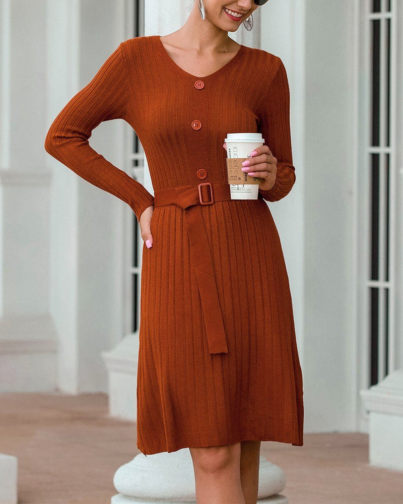 See You Dream V-Neck Midi Dress - Brown oh!My Lady