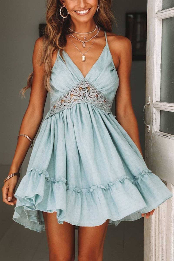 Sexy Lace Stitching Dress (3 colors) ohmylady/Dresses OML S Blue