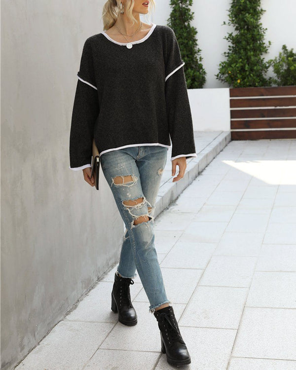 Signature Oversize Knit Sweater Top - Black Sweaters oh!My Lady