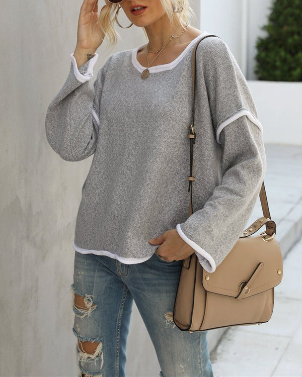 Signature Oversize Knit Sweater Top - Grey Sweaters oh!My Lady