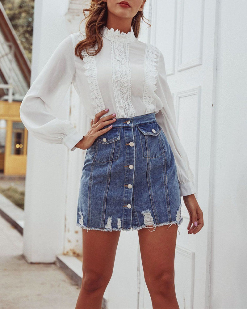 Single Breasted Denim Skirt oh!My Lady